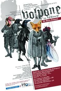 l'affiche du spectacle Volpone au théâtre de verdure du jardin Shakespeare