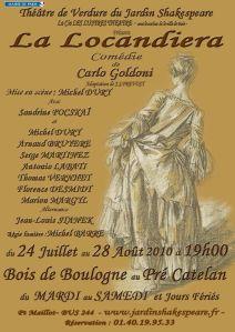 affiche de la locandiera jardin shakespeare paris