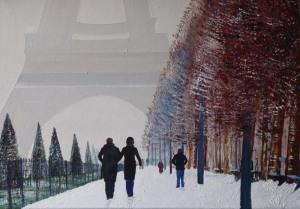 paysage paris sous la neige